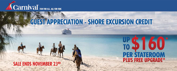 Carnival $160 Shore Excursion Credit