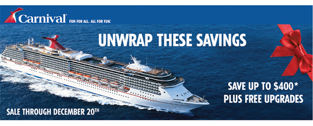 Unwrap These Savings from Carnival – Save up to $400