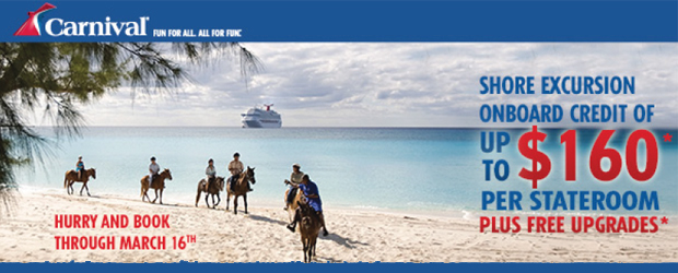 $160 Shore Excursion Credit from Carnival