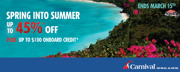 Spring into Summer with up to 45% off Carnival Cruises
